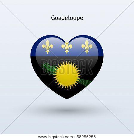 Love Guadeloupe symbol. Heart flag icon.