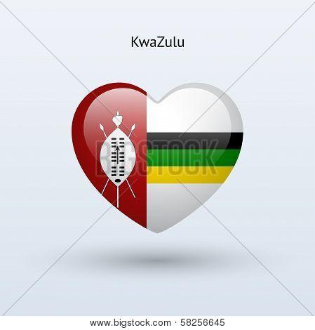Love KwaZulu symbol. Heart flag icon.