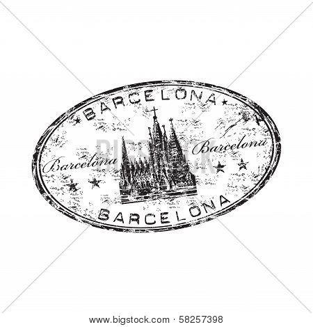 Barcelona grunge rubber stamp