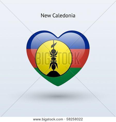 Love New Caledonia symbol. Heart flag icon.