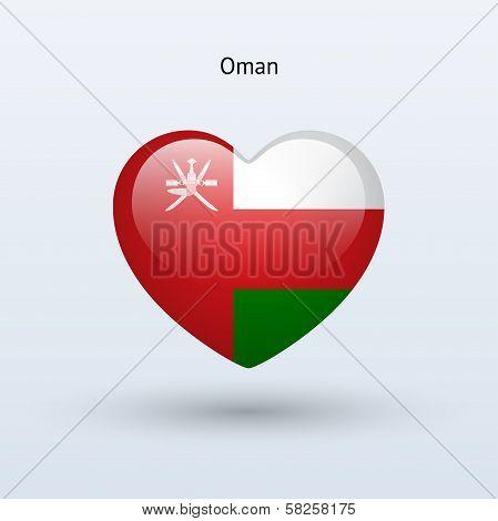 Love Oman symbol. Heart flag icon.