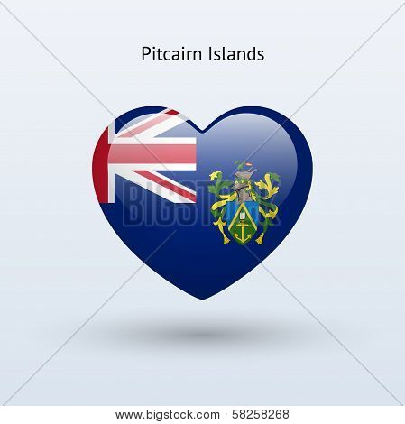 Love Pitcairn Islands symbol. Heart flag icon.