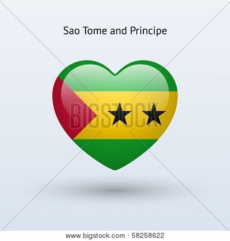 Love Sao Tome and Principe symbol. Heart flag icon.