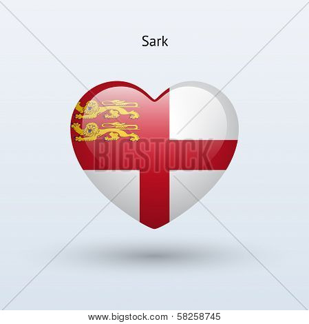 Love Sark symbol. Heart flag icon.