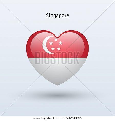Love Singapore symbol. Heart flag icon.