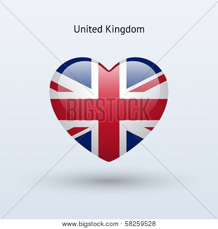 Love United Kingdom symbol. Heart flag icon.