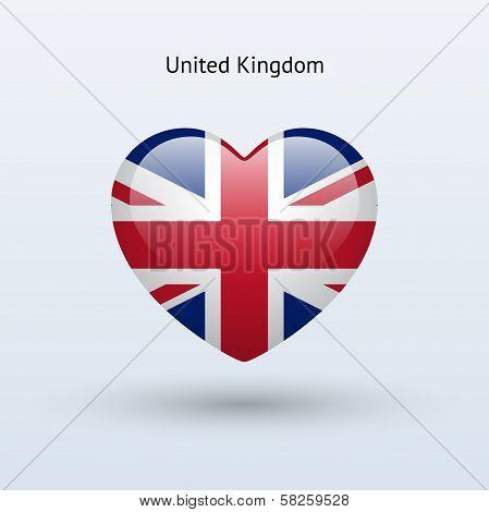 Love United Kingdom symbol. Heart flag icon.
