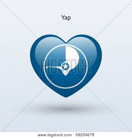 Love Yap symbol. Heart flag icon.