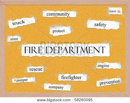 Fire Department Corkboard Word Concept