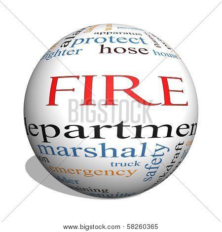 Fire Department 3D Sphere Word Cloud Concept