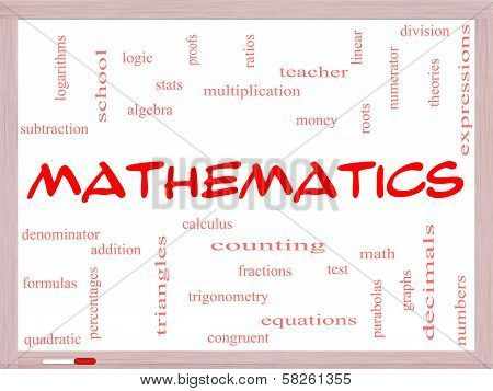 Mathematics Word Cloud Concept On A Whiteboard
