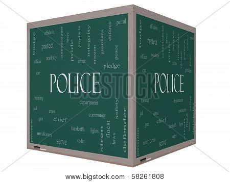 Police Word Cloud Concept On A 3D Cube Blackboard