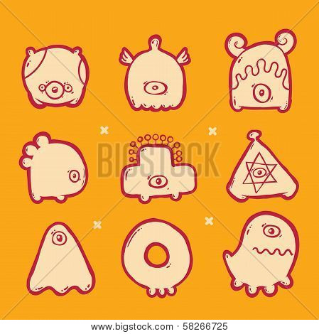 set of abstract icons monsters