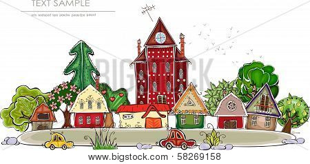 Stree of peaceful city and village illustration,