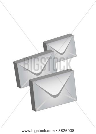 Post envelopes in a vector on a white background