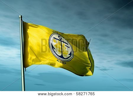 Anchorage (USA) flag waving on the wind