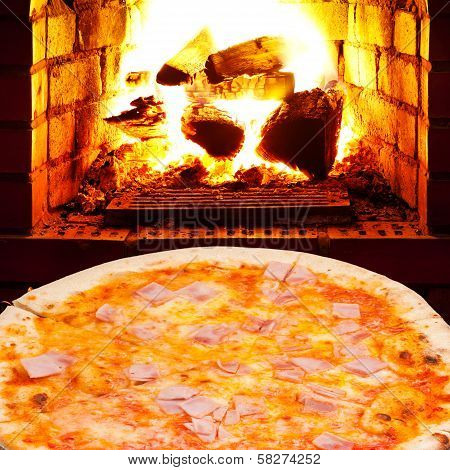 Pizza With Prosciutto Cotto And Open Fire In Stove