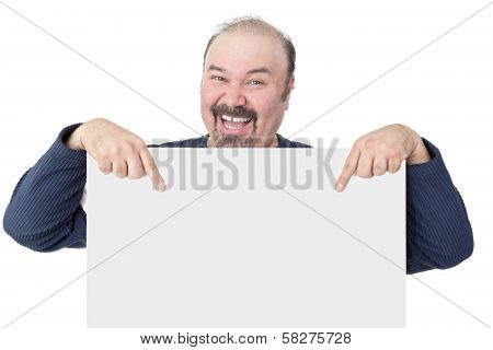 Enthusiastic Man Pointing To A Blank White Sign