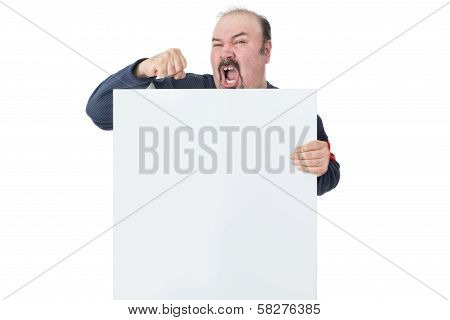 Protesting Mature Man Holding A Blank Billboard