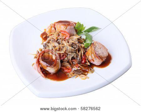 Pork In Bacon With Mushroom Garnish