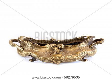 Studio Shot Of Ornate Vintage Brass Bowl