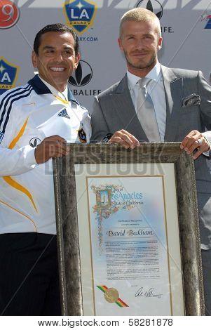 LA Mayor Antonio Villaraigosa and David Beckham at the press conference to introduce David Beckham as the newest member of the Los Angeles Galaxy. Home Depot Center, Carson, CA. 07-13-07