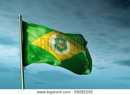 Ceara (Brazil) flag waving in the evening