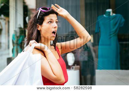 Amazed Shopping Woman