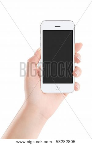 White Mobile Smart Phone With Blank Screen In Female Hand