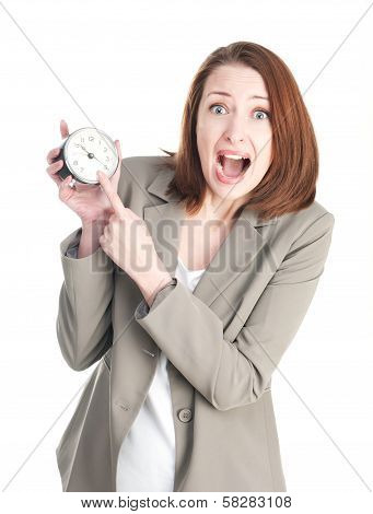 Funny Business Woman With A Shocking Clock Isolated On White