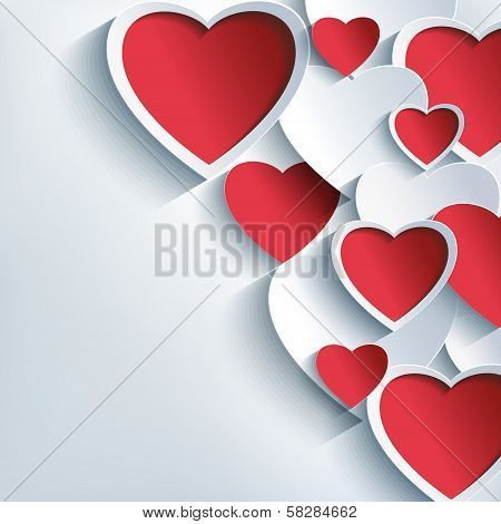 Stylish Valentines Day Background With 3D Red And Gray Hearts