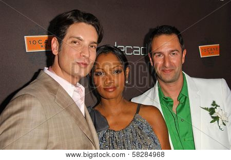 Christos Garkinos with Garcelle Beauvais and Cameron Silver at the grand re-opening celebration of decadestwo. decadestwo, Los Angeles, CA. 07-18-07