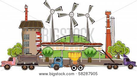 Factory and wind power generatirs