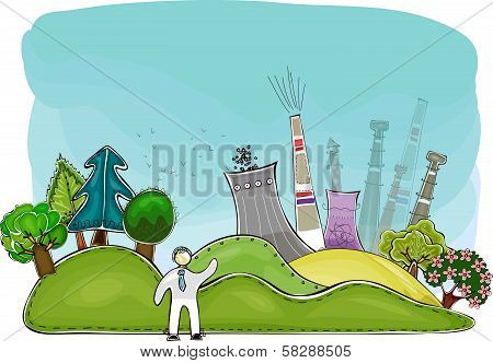 Nuclear power generator and nature, environmental concept