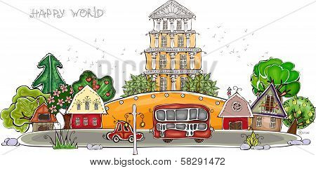 Street of peaceful city illustration,