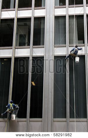 Window Cleaners washing windows