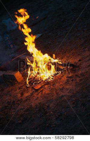 High Flame Of A Bonfire. Night Scene