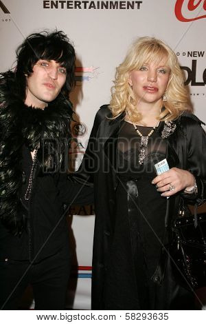 Noel Fielding and Courtney Love at the Gridlock New Years Eve 2007 Party, Paramount Studios, Los Angeles, CA 12-31-06