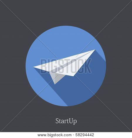 Vector flat startup icon on dark background