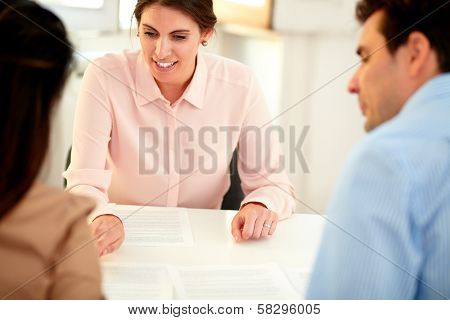 Financial Advisor Lady Explaining Application Form