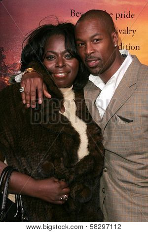 Angie Stone and guest at the world premiere of