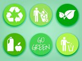 stock photo of recycled paper  - Green stickers or labels recycling symbol leaves recycle trash wholosome food flat tags - JPG