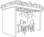 picture of sukkot  - A Vector illustration coloring page of a Sukkah decorated with ornaments and a table with glasses of wine and fruits for the Jewish Holiday Sukkot - JPG