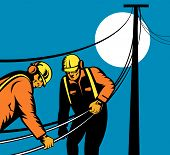 image of lineman  - vector illustration of Power lineman at work on blue background - JPG