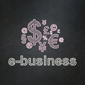 Business concept: Finance Symbol and E-business on chalkboard background