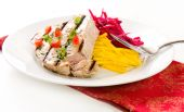 pic of yellowfin tuna  - Jalapeno marinated grilled tuna steak with beet and jicama slaw - JPG