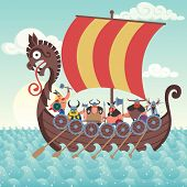 picture of viking ship  - Cartoon Viking ship sailing - JPG