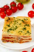 stock photo of lasagna  - Italian lasagna with meat and tomatoes - JPG