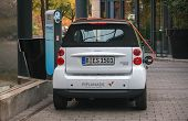Berlin, Germany -  October 12, 2010: Electric Car At A Charging Station On October 12, 2010 In Berli