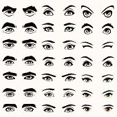 stock photo of eyebrow  - female and male vector eyes and eyebrows silhouette illustration - JPG